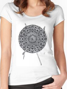 Stippling Geometric Circles - Black Ink Women's Fitted Scoop T-Shirt