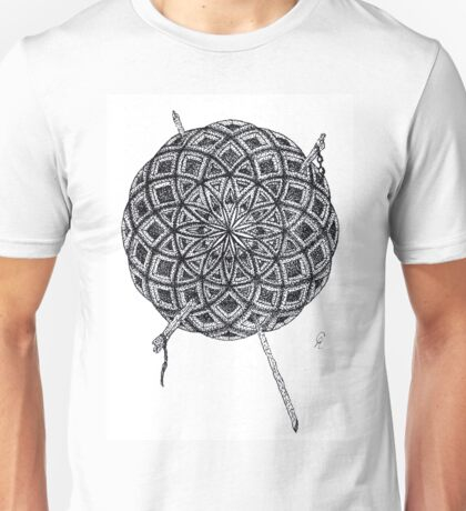 Stippling Geometric Circles - Black Ink Unisex T-Shirt