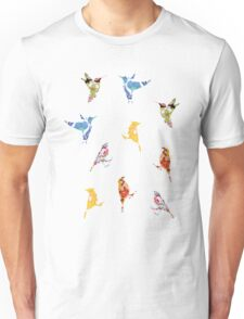 Vintage Wallpaper Birds on Wood Unisex T-Shirt
