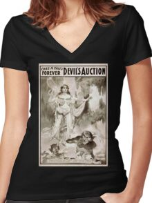 Performing Arts Posters Chas H Yales forever Devils auction 1068 Women's Fitted V-Neck T-Shirt