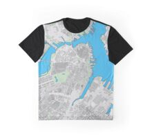 Boston city center building map Graphic T-Shirt
