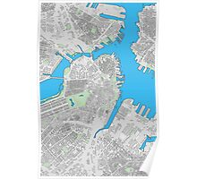 Boston city center building map Poster