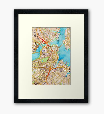 Watercolor map of Boston city center Framed Print