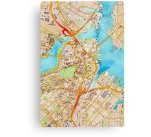 Watercolor map of Boston city center Canvas Print