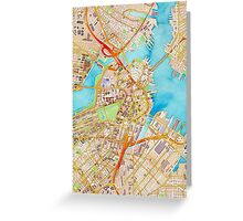 Watercolor map of Boston city center Greeting Card