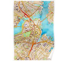 Watercolor map of Boston city center Poster