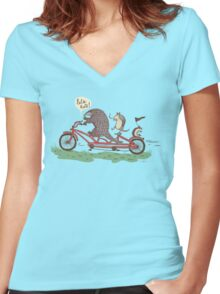 ROLLIN' PANGOLINS Women's Fitted V-Neck T-Shirt
