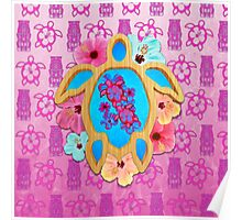 Pink Hawaiian Tropical Honu Poster