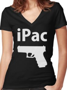 Ipac Funny Cheap Gun Women's Fitted V-Neck T-Shirt