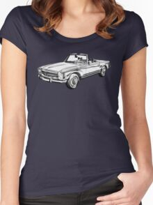 Mercedes Benz 280 SL Convertible Illustration Women's Fitted Scoop T-Shirt
