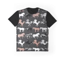 Rose Gold and Black and White Marble Modern Horses Graphic T-Shirt