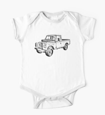 1971 Land Rover Pick up Truck Drawing One Piece - Short Sleeve