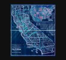0093 Railroad Maps New enlarged scale railroad and county map of California showing every railroad station and post office in the Inverted Unisex T-Shirt