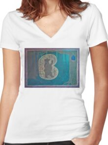 First Grade Letters - B Women's Fitted V-Neck T-Shirt