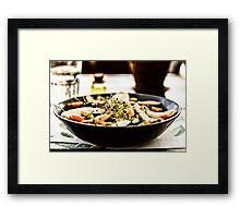 Fresh Salad With Mozzarella, Chicken, Tomatoes, Almonds And Onion Germs Framed Print