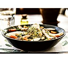 Fresh Salad With Mozzarella, Chicken, Tomatoes, Almonds And Onion Germs Photographic Print