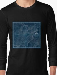 0025 Railroad Maps Rail road map of the United States showing the depots Inverted Long Sleeve T-Shirt