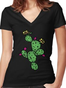 Prickly Pear Women's Fitted V-Neck T-Shirt