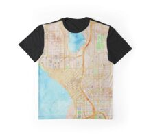 Seattle city center watercolor map Graphic T-Shirt