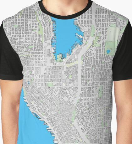 Seattle city center cartoon map Graphic T-Shirt