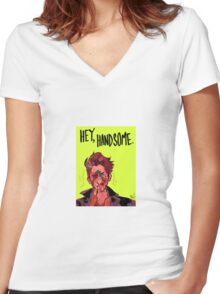 hey handsome Women's Fitted V-Neck T-Shirt