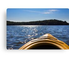 Landscape of a northern lake viewed from a kayak  Canvas Print