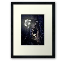 Cute baby owl in tree hole at night art photo print Framed Print