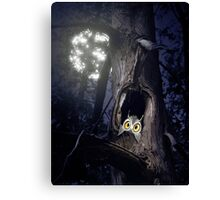 Cute baby owl in tree hole at night art photo print Canvas Print