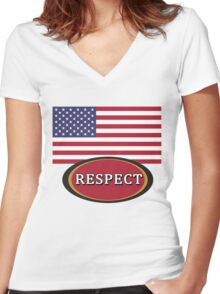 American Flag RESPECT Women's Fitted V-Neck T-Shirt