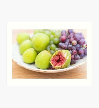 Fresh figs and grape Art Print