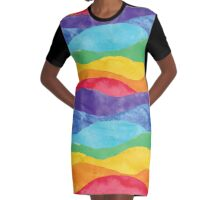 Rainbow Waves Graphic T-Shirt Dress