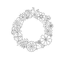 Floral Wreath - Just Add Color Photographic Print