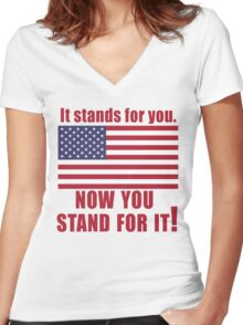 American Flag It Stands for You Women's Fitted V-Neck T-Shirt