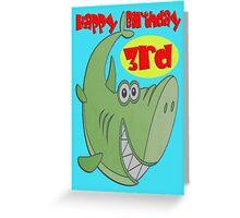 Green Shark 3rd Birthday Greeting Card