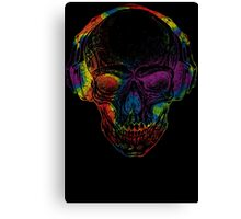 Rainbow Skull Wearing Headphones T Shirt Canvas Print
