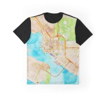 Watercolor map of San Diego city center Graphic T-Shirt