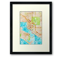 Watercolor map of San Diego city center Framed Print
