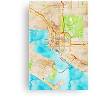 Watercolor map of San Diego city center Canvas Print