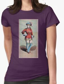 Performing Arts Posters Chorus girl in short red costume and blue stockings 1709 Womens Fitted T-Shirt