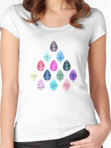 Watercolor Forest Pattern Women's Fitted Scoop T-Shirt