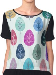 Watercolor Forest Pattern Chiffon Top