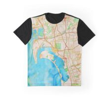 San Diego metropolitan area watercolor map Graphic T-Shirt