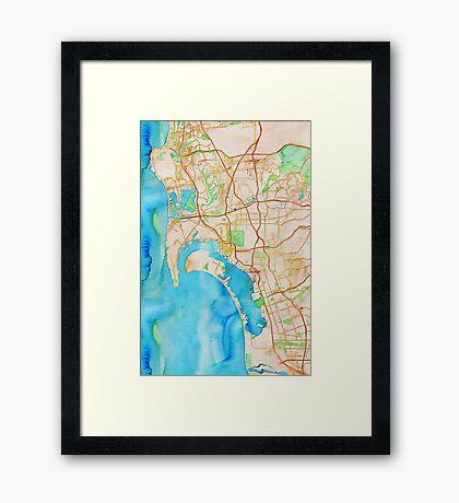 San Diego metropolitan area watercolor map Framed Print