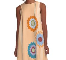 Salmon & turquoise stripes and flowers A-Line Dress