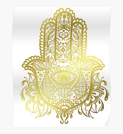 Royal Golden Hamsa Hand Poster