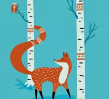 Fox - Owl - Birch Trees  Sticker