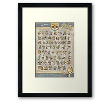 Vault Boy Fallout Perks Poster Framed Print