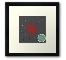 Duck! The earth is about to blow! Framed Print