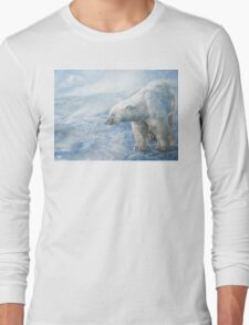 "Polar Bear ""Arctic Sovereign"" Acrylic Painting Long Sleeve T-Shirt"