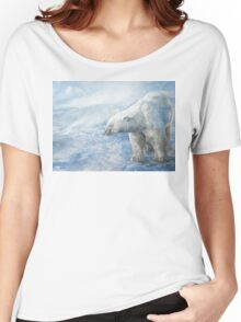 "Polar Bear ""Arctic Sovereign"" Acrylic Painting Women's Relaxed Fit T-Shirt"
